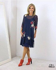Vestido de Tule Cleo Milani Azul com Floral