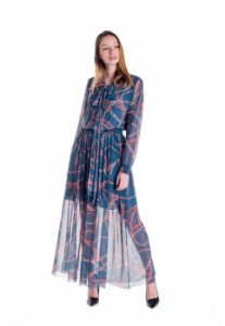 Vestido de Tule Cleo Milani Longo Azul com Estampa Correntes