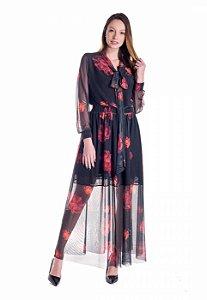 Vestido de Tule Cleo Milani Longo Preto com Estampa Floral
