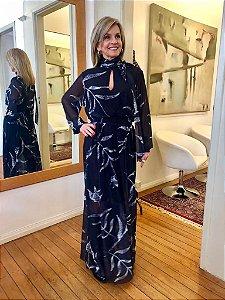 Vestido de Tule Cleo Milani Longo Preto com Estampa folhas