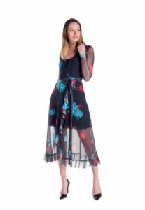 Vestido de Tule Cleo Milani Midi Preto com Estampa de Flores Turquesa