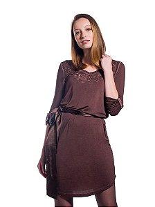 Vestido em Malha Bordado Marrom