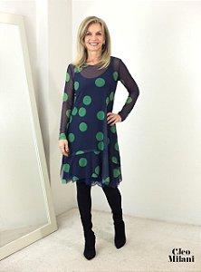 Vestido de Tule Cleo Milani Poá Verde