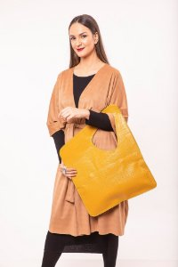 Bolsa média de couro croco Veneza Especial - Amarela