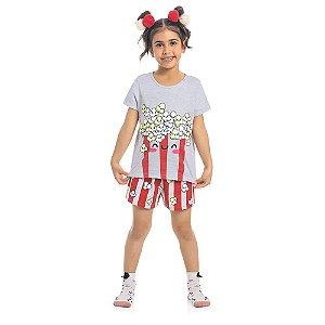 Pijama Infantil Kamylus Pop Corn Brilha no Escuro