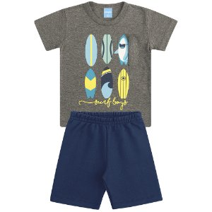 Conjunto Camiseta e Bermuda Surfando em Aventuras