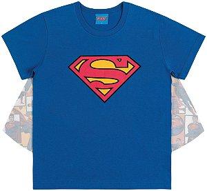 Camiseta Fantasia Superman com Capa Estampada - Liga da Justiça