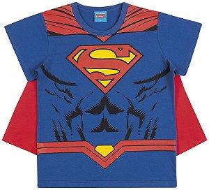 Camiseta Fantasia Superman com Capa - Liga da Justiça