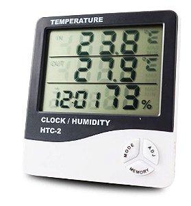 HTC-2 - SKILL-TEC - Higrometro Digital Temperatura Interna E Externa Com Relógio