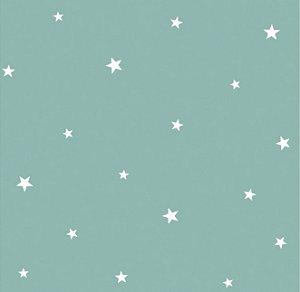 Papel de Parede Infantil de Estrelas Verde
