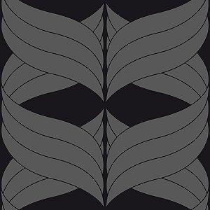 Papel de Parede Geométrico Chumbo / Preto