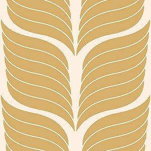Papel de Parede Geométrico Branco / Dourado