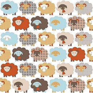 Papel de Parede Infantil de Ovelhas Coloridas