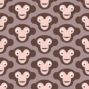Papel de Parede Infantil com Macacos Marrom / Bege