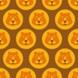Papel de Parede Infantil com Ursos Marrom / Laranja