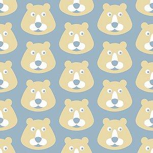 Papel de Parede Infantil com Ursos Bege / Azul