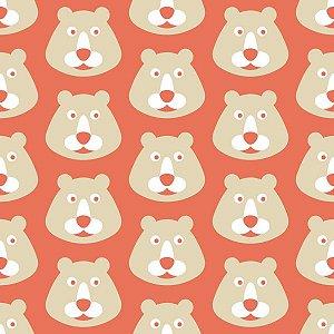 Papel de Parede Infantil com Ursos Vermelho / Bege