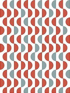 Papel de Parede Geométrico Branco / Azul / Vermelho