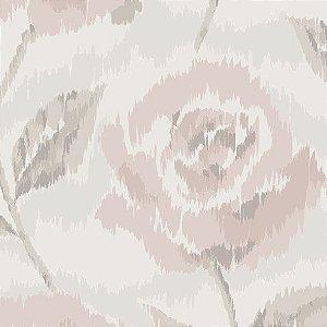 Papel de Parede Floral Cinza / Rosa