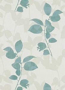 Papel de Parede de Folhas Cinza / Verde