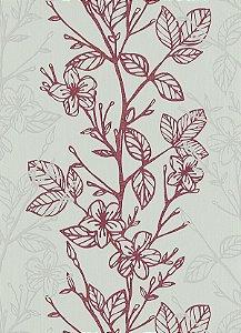 Papel de Parede com Folhagens Cinza / Vermelho
