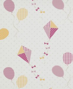 Papel de Parede de Pipas e Balões Vermelho / Rosa / Amarelo