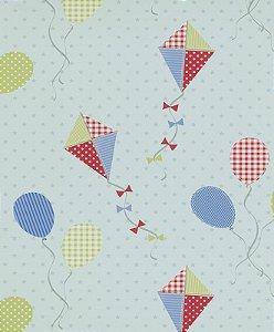Papel de Parede de Pipas e Balões Vermelho / Azul / Amarelo