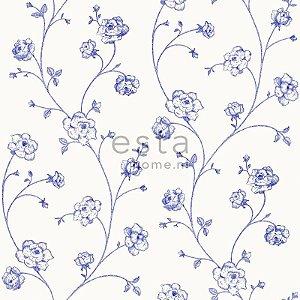 Papel de Parede Floral Branco e Azul