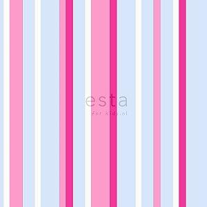 Papel de Parede Infantil Listrado Rosa, Azul e Branco