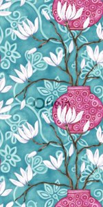 Papel de Parede Floral Azul Turquesa e Rosa