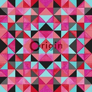 Papel de Parede Geométrico Rosa e Verde