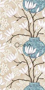 Papel de Parede Floral Bege e Azul Turquesa