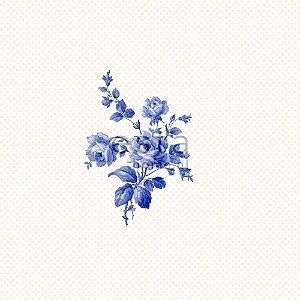 Papel de Parede Branco com Flores Azuis