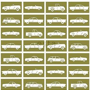 Papel de Parede Infantil de Carros Marrom / Branco
