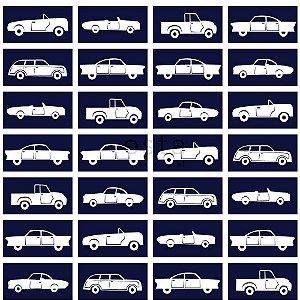 Papel de Parede Infantil de Carros Azul / Branco