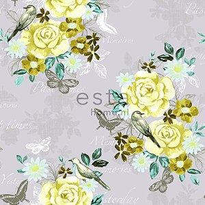 Papel de Parede Floral Cinza / Amarelo / Verde