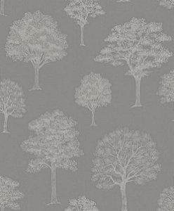 Papel de Parede de Árvores Cinza Chumbo