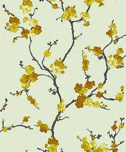 Papel de Parede Bege com Flores Amarelas