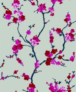 Papel de Parede Bege com Flores Rosas
