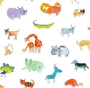 Papel de Parede Infantil de Safari Colorido Fundo Branco