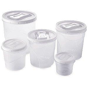 Conjunto Porta Mantimentos 5 Potes Rosca Grande Plasútil
