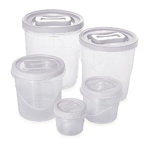Conjunto Porta Mantimentos 5 Potes Rosca Médio Plasútil