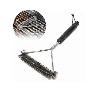 Escova Limpa Grelha Churrasqueira 3 Lados Com Cerdas De Aço