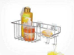 Porta Shampoo Sabonete Com Gancho Parafuso e Ventosa Cromado