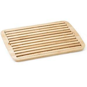 Migalheira Tábua Cortar Pão e Bandeja Bamboo Bambu 36x24cm