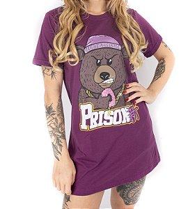Vestido streetwaer prison feminino ganster bear roxo