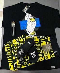 kit camisa +bermuda + chinelo slide ( cinto gratis )