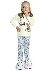 Pijama Menina Blusa Manga Longa e Calça com Punho Estampada