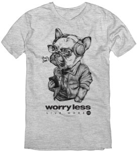 T-Shirt Bulldog Worry Less Cinza Mescla - 02 ao 08