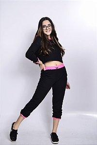 Conjunto Feminino Teen Cropped e Calça Jogger em Moletinho Bobbylulu